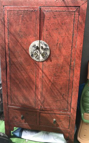 Antique Japanese Armoire Red Lacquer for Sale in Torrance, CA