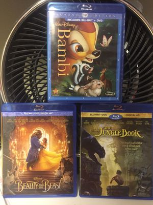 Disney Blu ray DVD combo set! Beauty and the Beast, Bambi, The Jungle Book Live action for Sale in Lynnwood, WA