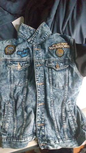 Warriors hoodie blue jean jacket for Sale in Detroit, MI