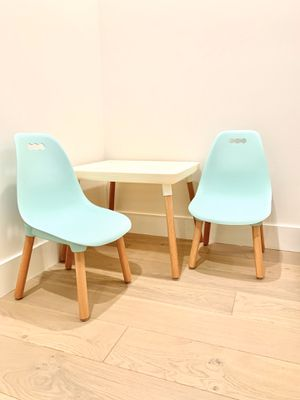 Modern kids table and chairs teal and wood for Sale in Encinitas, CA