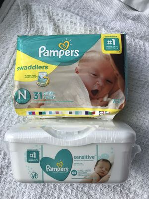Pampers Swaddlers Newborn & Pampers Sensitive Wipes for Sale in Clermont, FL