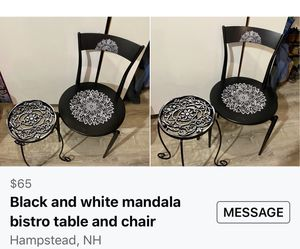 Black metal chair and table for Sale in WILIAMSBG Township, ME