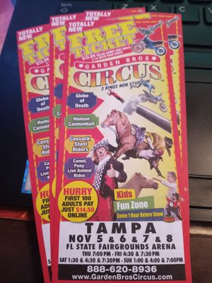 Circus tickets. Tampa Nov 5th thru 8th. 2020 for Sale in Tampa, FL