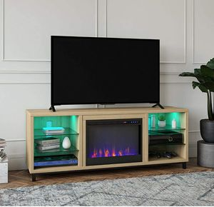 Light Oak Fireplace TV Stand for TVs up to 70 inches with Open Shelves for Sale in ROWLAND HGHTS, CA