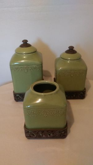 A Set of Ceramic/ Brass Containers for Sale in San Antonio, TX