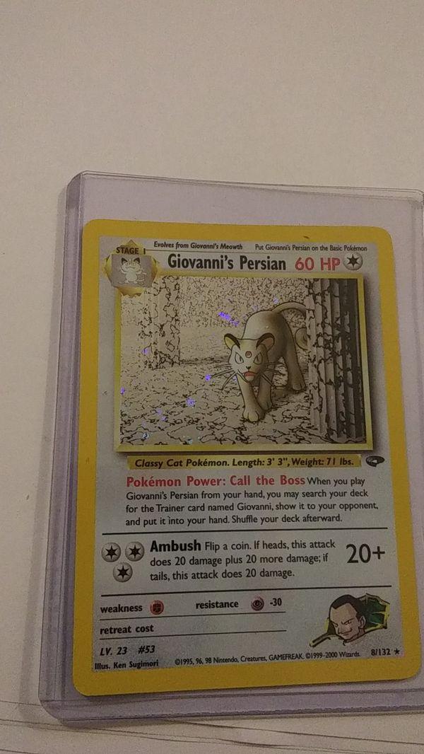 Giovanni's Persian 8/132 Gym Challenge Set Holo Rare Pokemon Card Holo Swirl