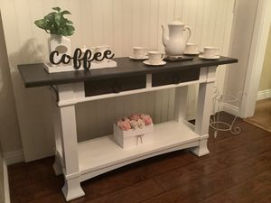 BEAUTIFUL WOODEN BUFFET TABLE, OR COFFEE TABLE BROWN AND WHITE Size: 58 L. 18W. 30 H. for Sale in Upland, CA