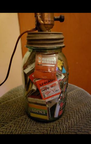 Antique Mason Jar Lamp w/vintage Match Books for Sale in Columbus, OH