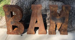 B A M Rustic Metal Letters for Sale in Long Beach, CA