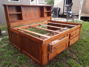 Solid wood queen bed frame with storage good condition asking 450 for Sale in Houston, TX