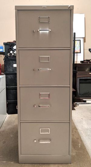 "HON HS384C Series 4-Drawer Vertical File Cabinet WITH KEY, Gray, 26.5""D, Legal size for Sale in Euless, TX"