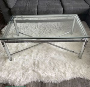 Glass Stainless Steel Coffee Table / 1 Side Table for Sale in Pasadena, TX