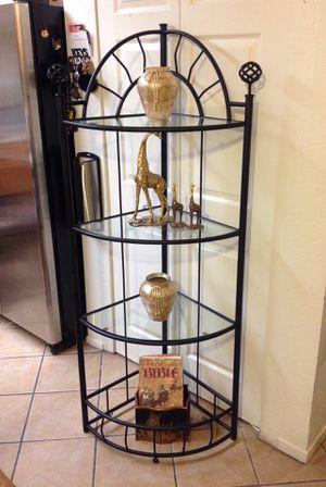 Corner Black Wrought iron Glass shelves $75.00 for Sale in Las Vegas, NV
