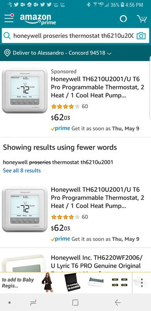 Thermostat. Honeywell Pro series for Sale in Concord, CA