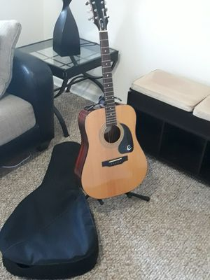Epiphone DR-90 Accoustic Guitar (good condition), guitar stand, and carrying bag (with picks and electric tuner included) for Sale in Staten Island, NY