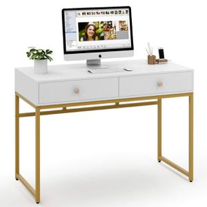 White with Gold Office Desk - Writing Desk - Computer Desk for Sale in Pomona, CA