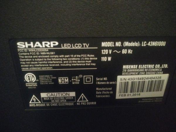 Sharp 43 inch hdtv