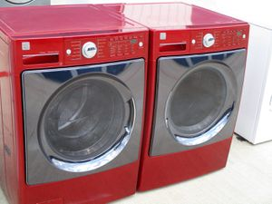 Red color front load kenmore elite washer and dryer electric high efficiency for Sale in Euless, TX