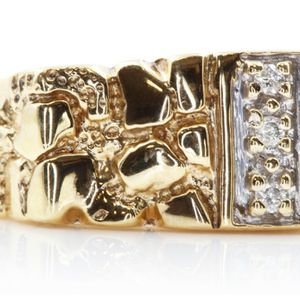 U550 MENS 14K GOLD DIAMOND NUGGET RING WEDDING BAND 4.90 GRAMS for Sale in San Diego, CA