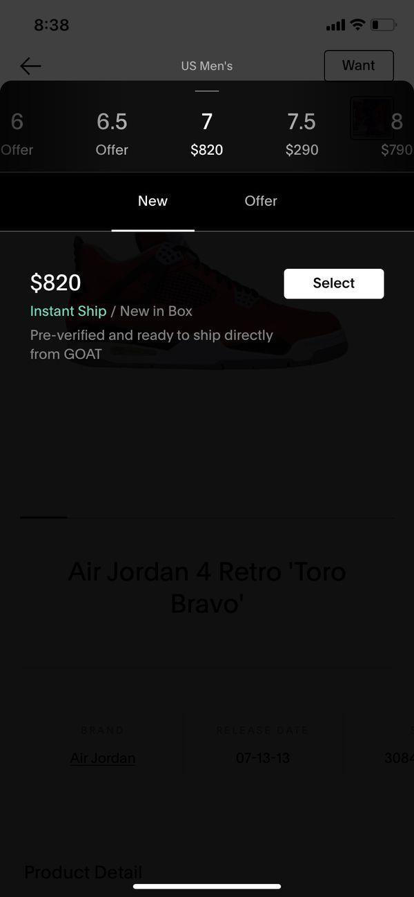 Air Jordan 4 retro 'Toro Bravo' size 7 OG NONE not a 100 dollars