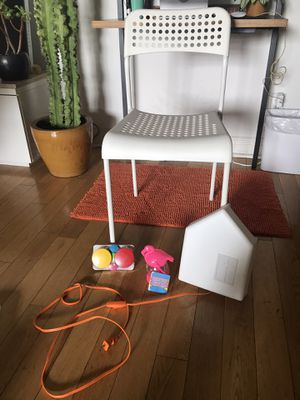 Kids Desk chair , lamp , knobs to hang jackets and fun flamingo lantern for Sale in Beverly Hills, CA
