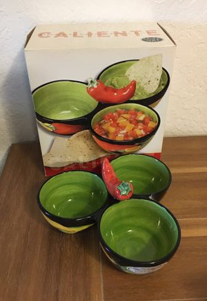 Caliente clay art hand painted salsa 3 section condiment server for Sale in Escondido, CA