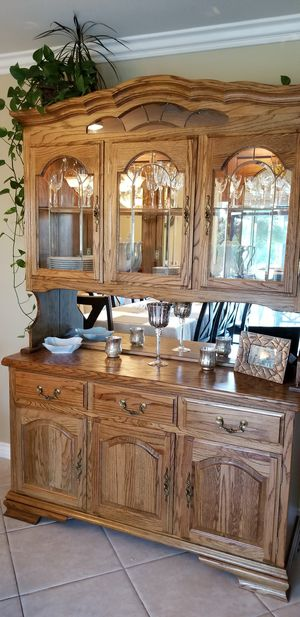 Beautiful real solid oak buffet and hucht China cabinet in great condition! for Sale in Upland, CA