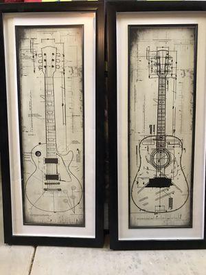 Guitar Framed Art - Set of 2 for Sale in Payson, AZ