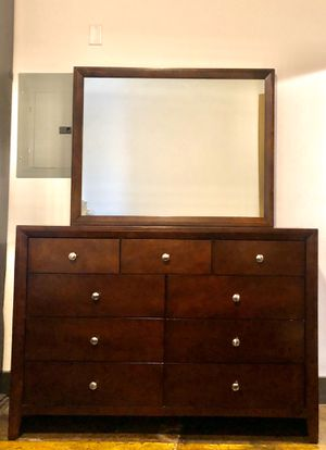 Solid wood bedroom set (dresser with mirror, queen bed frame, 1 nightstand) for Sale in Richmond, VA