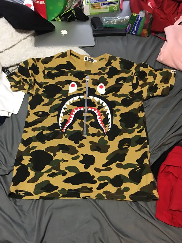 Tan camo bape shark shirt with silver zipper