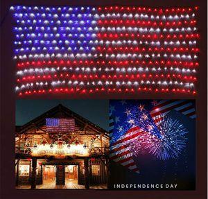 LED American Flag String Lights Large Banner Sign 8 x 3 Ft Holiday Patriotic for Sale in Bunkerville, NV