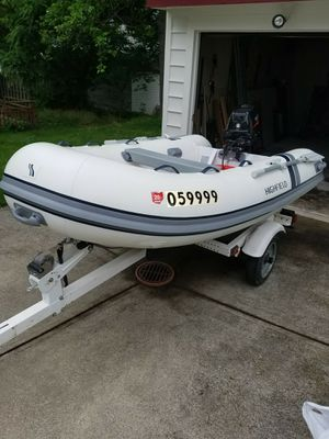 10ft Inflatable Boat With trailer and Motor for Sale in Cleveland, OH