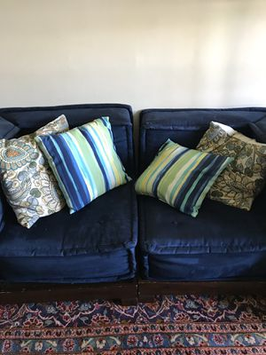 Pottery barn navy blue small couch for Sale in McLean, VA