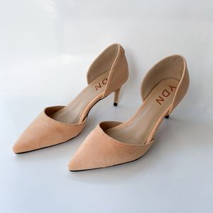 size 6 YDN Women Classic Low Heels D'Orsay Pumps Suede Pointed Toe Slip On Dressy Stilettos Shoes for Sale in Las Vegas, NV