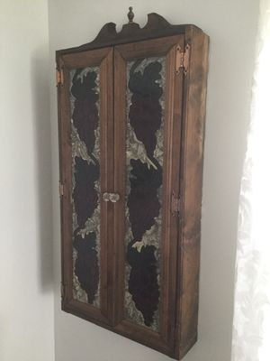 3 solid wood cabinets with stained glass for Sale in Mount Holly, NJ