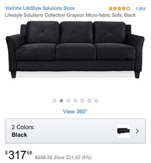 Lifestyle Solutions Collection Grayson Micro-fabric Sofa, Black for Sale in San Jose, CA