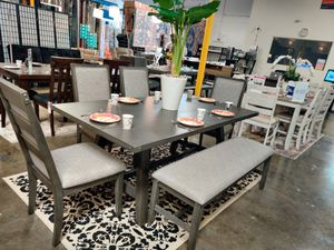 NEW IN THE BOX. 6 PIECE DINING SET, GREY FINISH, SKU# TCF2494D for Sale in Santa Ana, CA