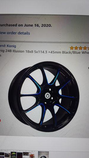 4 BRAND NEW konig 24b illusion 18x8 5x114.3+ 45mm black/blue wheel rims for Sale in Framingham, MA