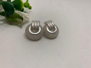 Multi Layer Metal Round Hoop Earrings, White/Silver for Sale in Los Angeles, CA