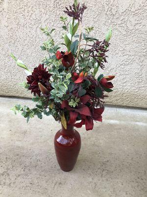 Flower arrangement with red vase for Sale in Clovis, CA