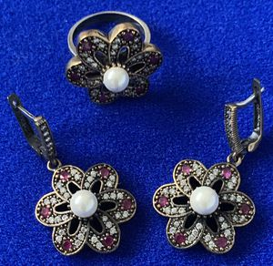 Flower Pearl Ruby Topaz Earrings and Ring Size 8 for Sale in Nashville, TN
