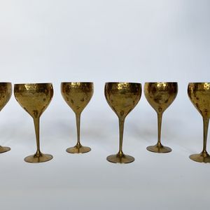 • 6x vintage hammered brass goblets glasses • for Sale in Issaquah, WA