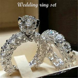 Ladies Round Diamond Six claw Wedding Ring Set Full Diamond Engagement Jewelry Ring Set for Sale in Culver City, CA