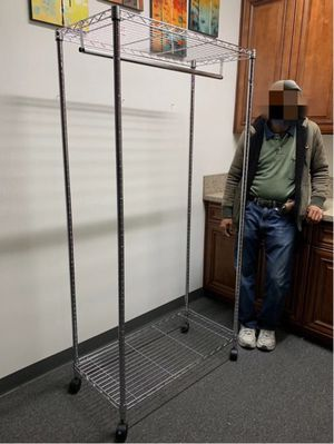 New in box 18x36x70 inches tall heavy duty rolling clothes organizer garment rack adjustable height for Sale in Los Angeles, CA