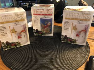 "Nu2nds: NEW IN BOX TRIO Flameless 4"" Pillar Candle Everlasting Musical for Sale in Arlington, TX"