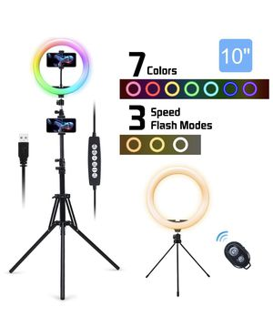 "10""❗️Color ❗️LED Ring Light with Stand & Remote Control, Selfie Circle Lights Dimmable 10 Colors RGB Ringlight for Sale in El Cajon, CA"