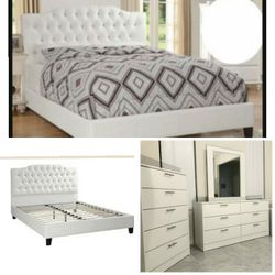 New Queen White Bed Frame Dresser Mirror And Chest for Sale in Altamonte Springs,  FL