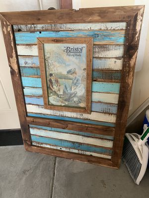 Antique Wood Fishing Sign with Hooks for Sale in Pasco, WA