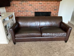 Crate & Barrel genuine leather couch for Sale in Vancouver, WA