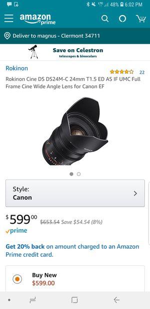 Rokinon 1.5/24mm prime lense for Sale in Clermont, FL